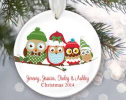 owl ornaments etsy