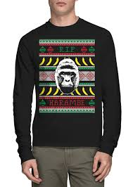 long sleeve mens rip harambe ugly christmas sweater t shirt