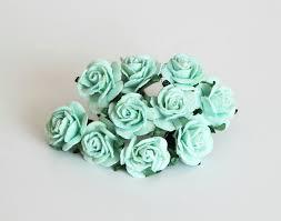mint green flowers 50 pcs mint color paper 2cm roses mulberry paper