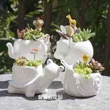 small animal ceramic flowerpot super white porcelain elephant