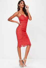 red lace detail midi dress missguided