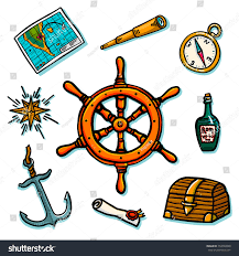 Map Rose Marine Set Shipboard Equipment On White Stock Illustration