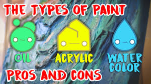 the types of paint oil acrylic watercolor the pros and cons youtube