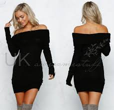 black dress uk uk womens out bodycon dress shoulder jumper dress