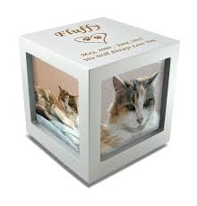cat cremation small rotating photo cube pet cremation urn 3 color choices