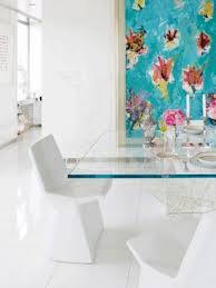 glass top dining table white scluptural chairs turquoise abstract