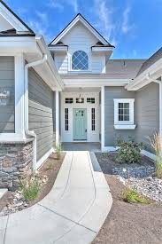 amherst gray by benjamin moore with front door painted wythe blue