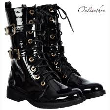 black lace up biker boots onlineshoe military biker ankle boot lace up and double buckle
