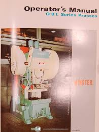 minster power presses 22 ton press service and operations manual