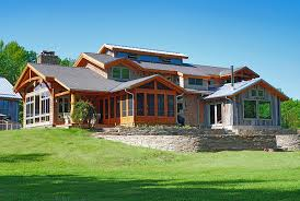 One Story Log Cabins Timber Frame Timber Frame Home Exteriors New Energy Works