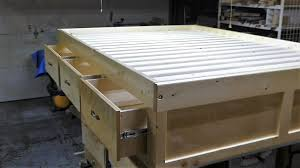 How To Make A Platform Bed With Drawers Underneath by Make A Queen Size Bed Frame With 3 Drawers Youtube
