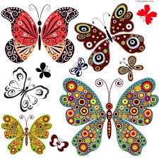4 designer delicate butterfly design vector material