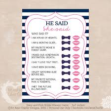 he said she said bridal shower wedding shower printable he said she said bridal shower
