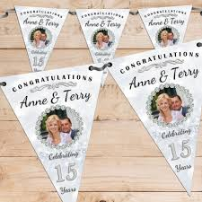 Bunting Flags Wedding Personalised Crystal 15th Wedding Anniversary Celebration Photo