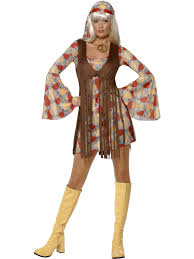 1960 Halloween Costumes 1960 U0027s Groovy Baby Hippy Ladies Fancy Dress Costume U0026 Waistcoat