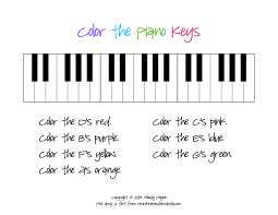 color the piano keys sheet piano keys pianos and key
