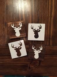 set of 4 deer head coasters wood coaster home decor drink