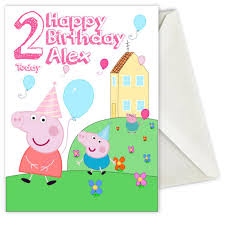personalised birthday card inspired by peppa pig all ways design
