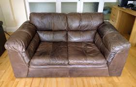 dfs leon 2 seater brown leather sofa