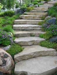 Steep Hill Backyard Ideas Diagonal Step Stone Walkway With Grass Between Beautiful And