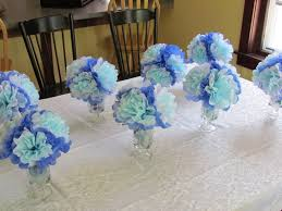 baby shower centerpieces boys baby shower decoration ideas for boys blue white tissue