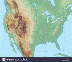 North America Map by Beautiful But Realistic Terrain Map Of North America Stock Photo
