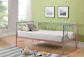 twin size silver or copper metal day bed frame with white roll out