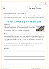 primaryleap co uk writing a conclusion wolf worksheet