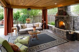 furniture relax outdoor living room design with cream tiles