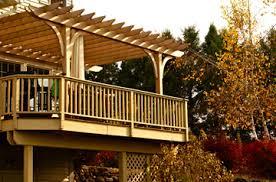 raised deck pergola by trellis structures