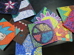 egg shell mosaics for artist trading cards craftiness