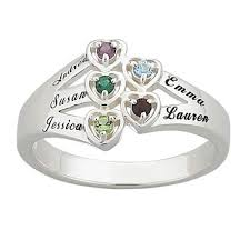 rings with names engraved engraved heart family birthstone ring 2 6 stones and names in