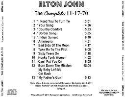 Country Comfort Elton John Cd Album Elton John The Complete 11 17 70 Remasters Workshop