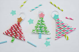 paper recycled christmas decorations using straw trees fun family