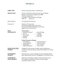 resume sample for architecture student professional resumes