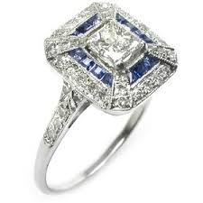 engagement rings art deco diamond and sapphire 18k white g
