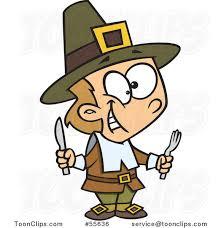 hungry thanksgiving pilgrim boy holding silverware 55636