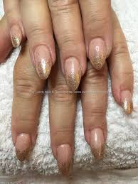 social build almond acrylics with gel polish and gold