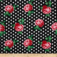Home Decor Print Fabric Michael Miller Retro Florals Lucy Black Discount Designer Fabric