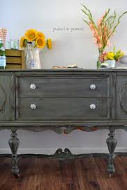picked painted antique buffet dark grey with white pulls