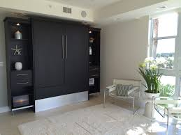 furniture modern murphy bed with wall storage unit in black feat