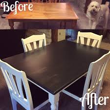 our kitchen table makeover we used rustoleum chalk paint in linen