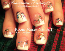 easy christmas nails winter snowman scene fun nail art design
