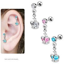 bar earring cartilage dangle crown cage with gem cartilage and tragus barbell earring