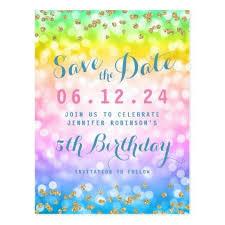 save the date birthday cards kids birthday party save the date unicorn rainbow postcard