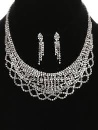 bib necklace rhinestone images Royal layered rhinestone bib necklace and earring set whimsia jpg