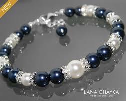 pearl bracelet swarovski images Dark navy blue white pearl bracelet swarovski night blue white jpg