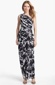 adrianna papell one shoulder print chiffon gown black white size