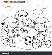 children playing soccer coloring book stock illustration