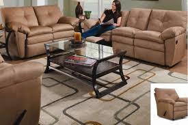 Motion Living Room Furniture Latte Color Microfiber Dual Motion Living Room W Recliners